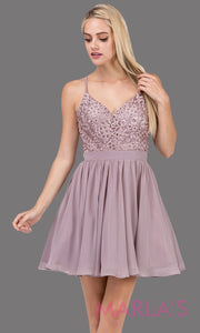 3088.4-Short mocha flowy chiffon grade 8 grad dress with straps and lace.This v neck neutral graduation dress is great for quinceanera damas, confirmation,bat mitzvah,junior bridesmaid. Plus size Avail