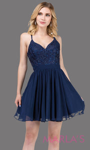 3088.4-Short navy blue flowy chiffon grade 8 grad dress with straps and lace.This v neck dark blue graduation dress is great for quinceanera damas, confirmation,bat mitzvah,junior bridesmaid. Plus size Avail