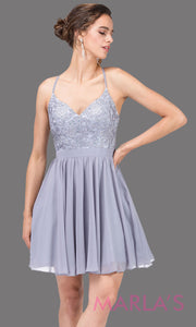3088.4-Short silver gray flowy chiffon grade 8 grad dress with straps and lace.This v neck light grey graduation dress is great for quinceanera damas, confirmation,bat mitzvah,junior bridesmaid. Plus size Avail
