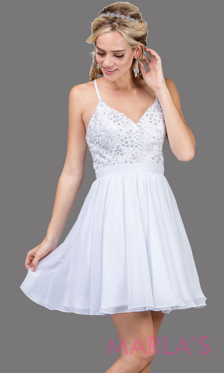 3088.4-Short white flowy chiffon grade 8 grad dress with straps and lace.This v neck white graduation dress is great for quinceanera damas, confirmation,bat mitzvah,junior bridesmaid. Plus size Avail