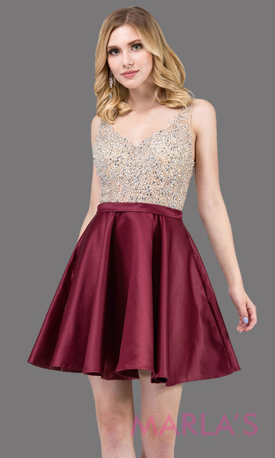 3092.4-Short flowy burgundy red grade 8 graduation dress with rhinestone top and flowy satin skirt. This beaded dark red grad dress is great as quinceanera damas, bat mitzvah, sweet 16. Plus sizes avail.