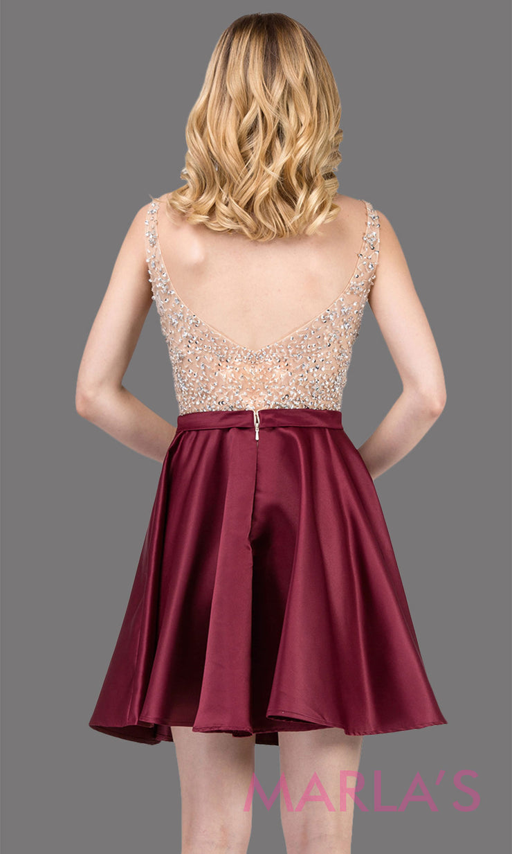 3092.4BShort flowy burgundy red grade 8 graduation dress with rhinestone top and flowy satin skirt. This beaded dark red grad dress is great as quinceanera damas, bat mitzvah, sweet 16. Plus sizes avail