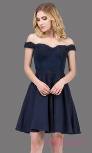 3095.4-Short flowy off shoulder  navy blue grade 8 grad dress with lace & flowy skirt. Dark blue graduation dress is great as quinceanera damas, confirmation, bah mitzvah, jr. bridesmaid. Plus size avail