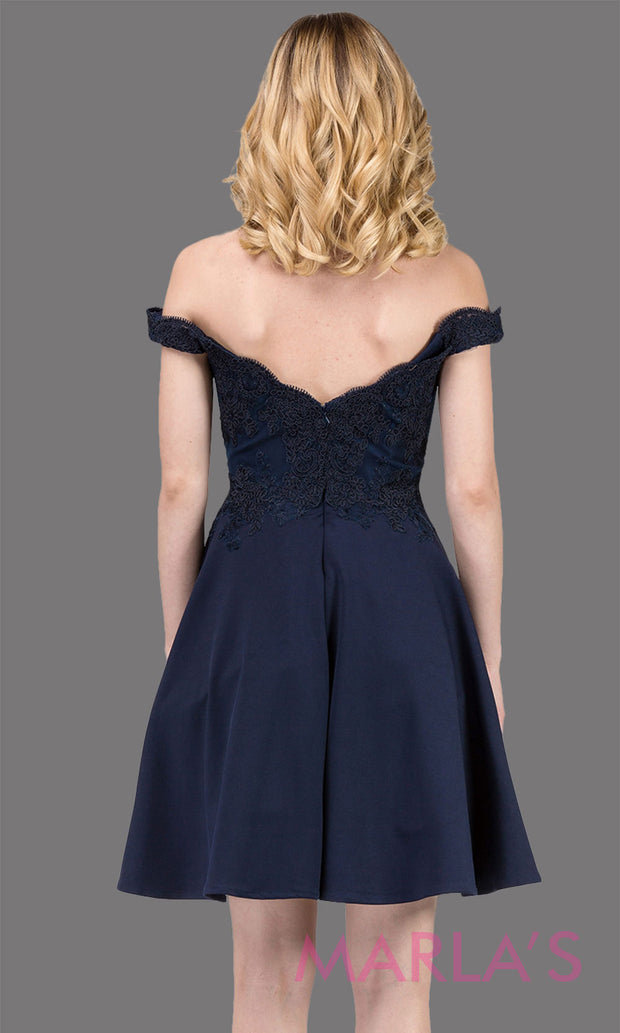 3095.4B-Short flowy off shoulder  navy blue grade 8 grad dress with lace & flowy skirt. Dark blue graduation dress is great as quinceanera damas, confirmation, bat mitzvah, jr. bridesmaid. Plus size avail Avail