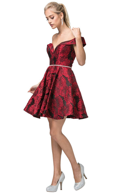 Dancing Queen - 3096 Off Shoulder Floral Print A-Line Dress In Burgundy