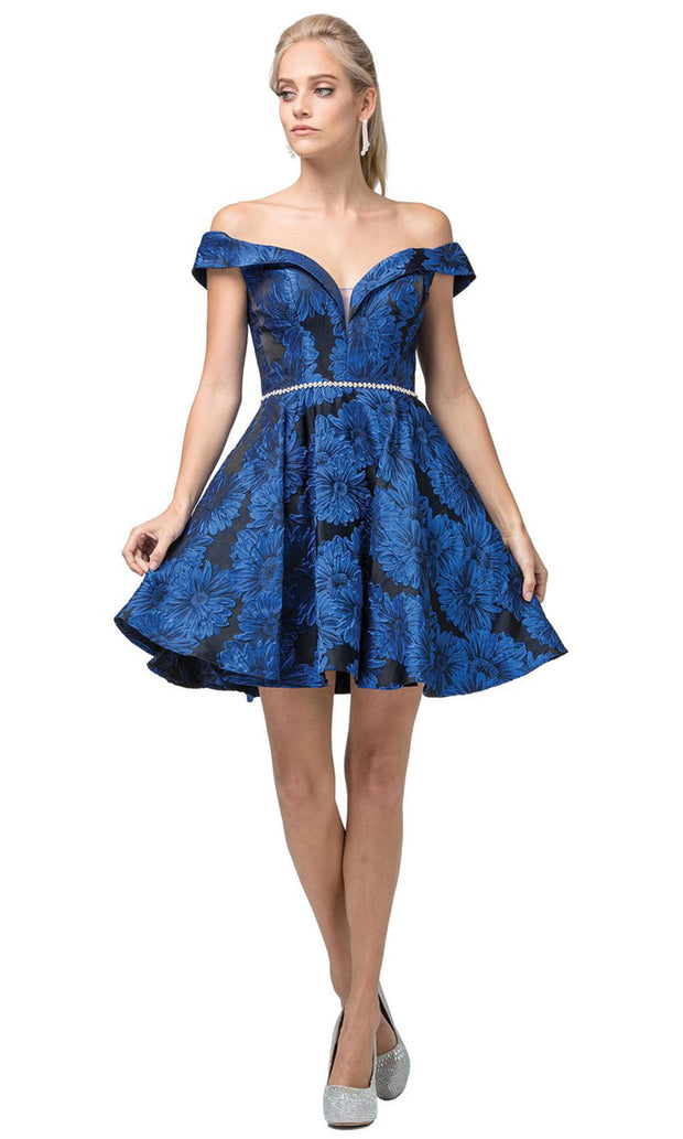 Dancing Queen - 3096 Off Shoulder Floral Print A-Line Dress In Blue
