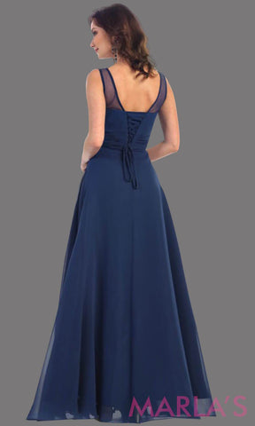 * Navy Long Dress with Illusion Neckline