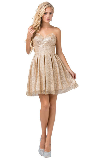 Dancing Queen - 3106 Sweetheart Glittered Cocktail Dress In Gold