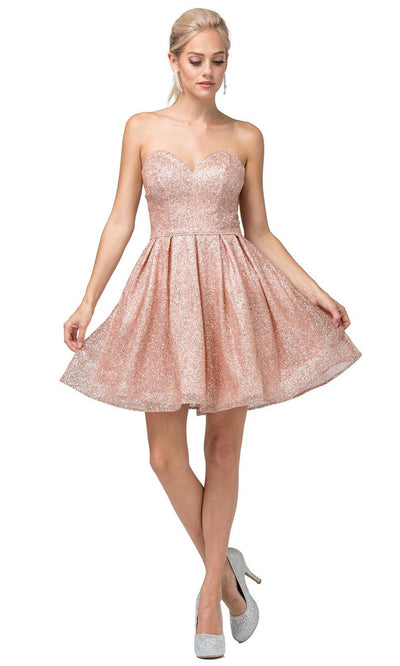 Dancing Queen - 3106 Sweetheart Glittered Cocktail Dress In Pink and Gold