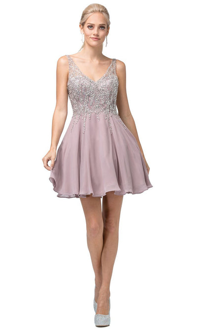 Dancing Queen - 3129 Jewel Trailed Bodice A-Line Dress In Pink