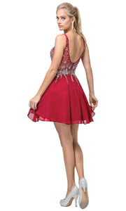 Dancing Queen - 3129 Jewel Trailed Bodice A-Line Dress In Burgundy