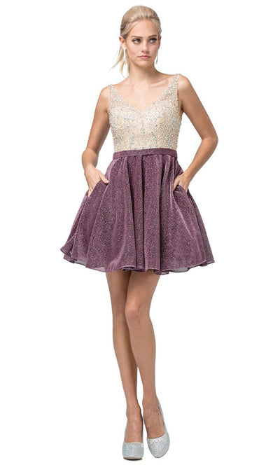 Dancing Queen - 3130 Sleeveless Beaded Bodice A-Line Cocktail Dress In Mauve