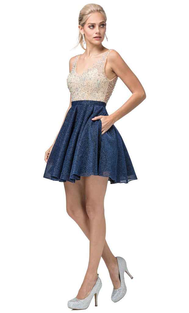 Dancing Queen - 3130 Sleeveless Beaded Bodice A-Line Cocktail Dress In Blue