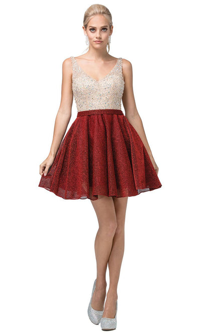 Dancing Queen - 3130 Sleeveless Beaded Bodice A-Line Cocktail Dress In Red