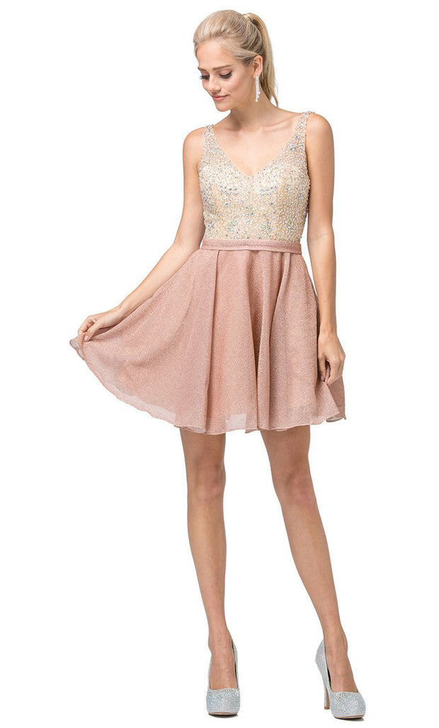 Dancing Queen - 3130 Sleeveless Beaded Bodice A-Line Cocktail Dress In Pink