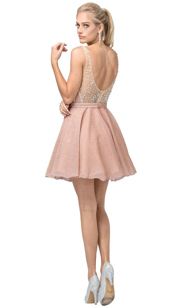 Dancing Queen - 3130 Sleeveless Beaded Bodice A-Line Cocktail Dress In Gold