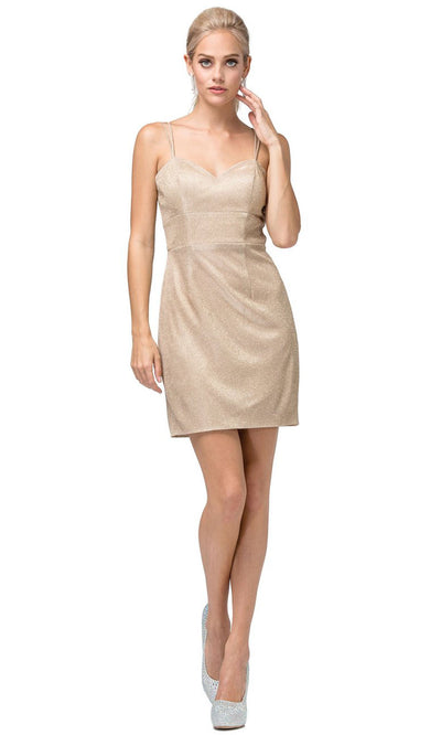 Dancing Queen - 3131 Sweetheart Bodice Glitter Sheath Dress In Champagne & Gold