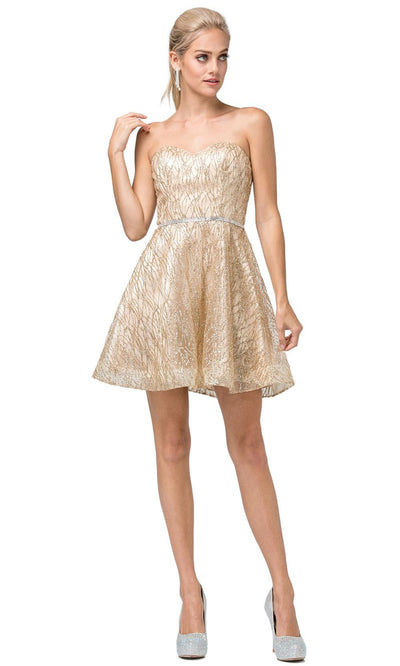 Dancing Queen - 3136 Embellished Sweetheart A-Line Dress In Gold