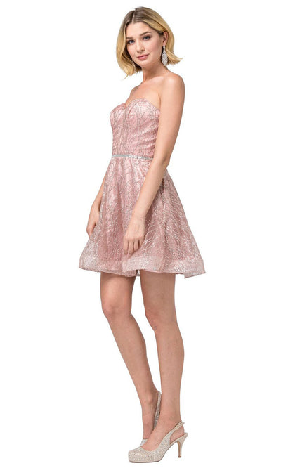 Dancing Queen - 3136 Embellished Sweetheart A-Line Dress In Pink