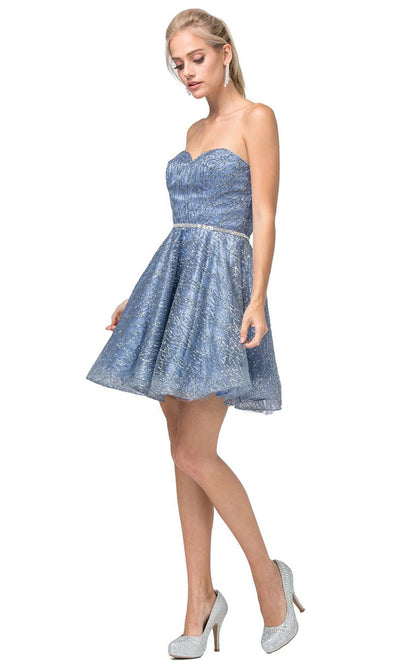 Dancing Queen - 3136 Embellished Sweetheart A-Line Dress In Blue