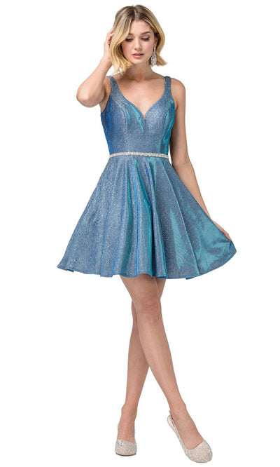 Dancing Queen - 3142 Shimmer Metallic A-Line Cocktail Dress In Blue