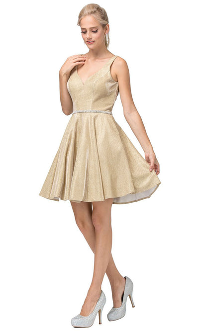 Dancing Queen - 3142 Shimmer Metallic A-Line Cocktail Dress In Champagne & Gold