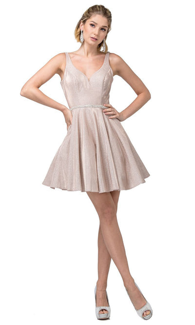 Dancing Queen - 3142 Shimmer Metallic A-Line Cocktail Dress In pink
