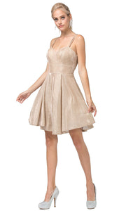 Dancing Queen - 3143 Fit And Flare Shimmer Metallic Cocktail Dress In Champagne & Gold