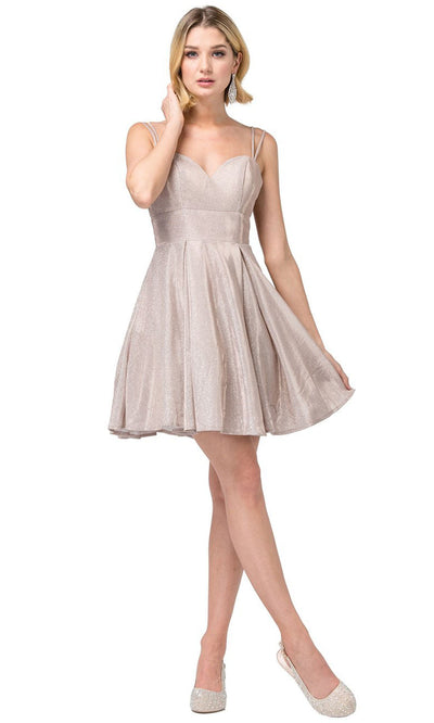Dancing Queen - 3143 Fit And Flare Shimmer Metallic Cocktail Dress In Pink and Gold