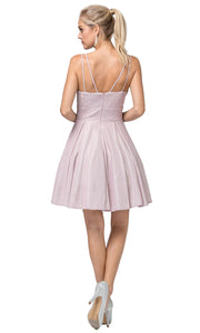 Dancing Queen - 3143 Fit And Flare Shimmer Metallic Cocktail Dress In Pink