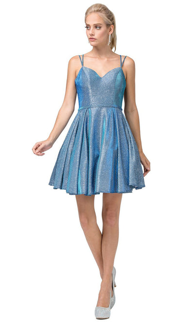 Dancing Queen - 3144 Double Strand Strap Shimmer Metallic A-Line Dress In Blue
