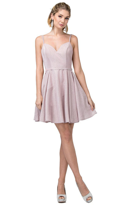Dancing Queen - 3144 Double Strand Strap Shimmer Metallic A-Line Dress In Pink