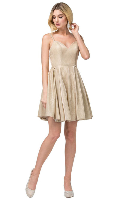 Dancing Queen - 3144 Double Strand Strap Shimmer Metallic A-Line Dress In Champagne & Gold
