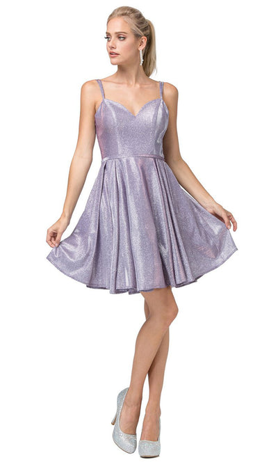 Dancing Queen - 3144 Double Strand Strap Shimmer Metallic A-Line Dress In Purple