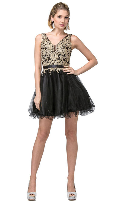 Dancing Queen - 3150 Embroidered V Neck A-Line Cocktail Dress In Black and Gold