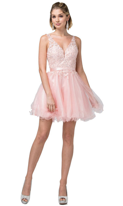 Dancing Queen - 3150 Embroidered V Neck A-Line Cocktail Dress In Pink