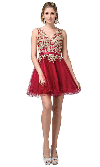Dancing Queen - 3150 Embroidered V Neck A-Line Cocktail Dress In Red and Gold