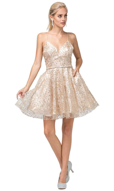 Dancing Queen - 3154 Embellished V Neck A-Line Dress In Gold
