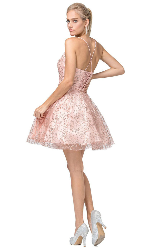 Dancing Queen - 3154 Embellished V Neck A-Line Dress In Pink and Gold