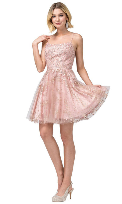 Dancing Queen - 3158 Embroidered Scoop Neck A-Line Dress In Pink