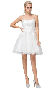 Dancing Queen - 3158 Embroidered Scoop Neck A-Line Dress In White