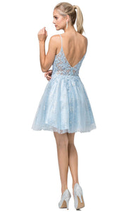 Dancing Queen - 3158 Embroidered Scoop Neck A-Line Dress In Blue