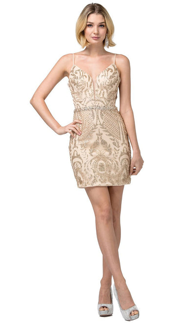 Dancing Queen - 3161 Sleeveless Glittery Sheath Dress In Gold