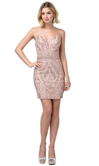 Dancing Queen - 3161 Sleeveless Glittery Sheath Dress In Pink and Gold
