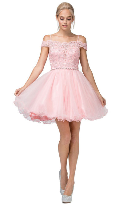 Dancing Queen - 3167 Embroidered Off Shoulder A-Line Dress In Pink and Gold