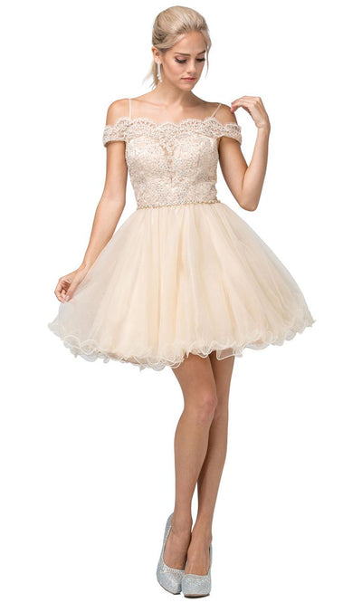 Dancing Queen - 3167 Embroidered Off Shoulder A-Line Dress In Neutral
