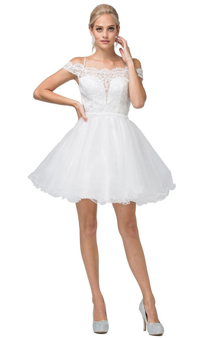 Dancing Queen - 3167 Embroidered Off Shoulder A-Line Dress In White