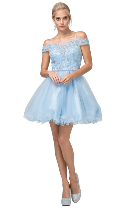 Dancing Queen - 3167 Embroidered Off Shoulder A-Line Dress In Blue