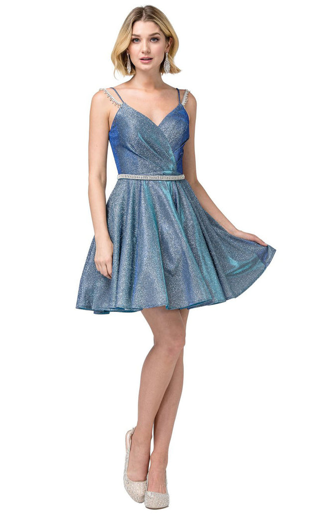 Dancing Queen - 3173 V Neck Embellished A-Line Dress In Blue
