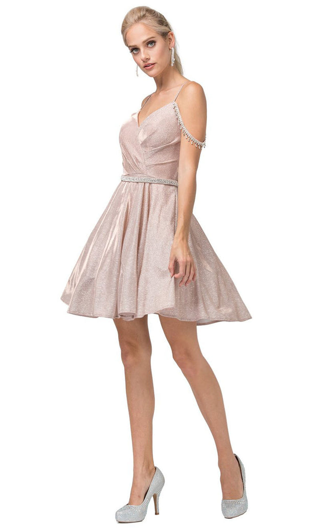 Dancing Queen - 3173 V Neck Embellished A-Line Dress In Pink and Gold